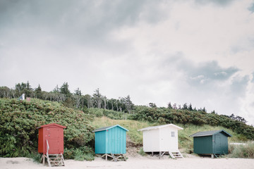 little colourful beach sheds