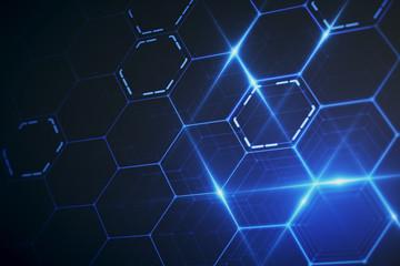 Blue hexagonal wallpaper