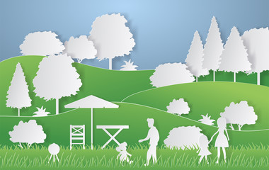 Summer camping paper cut style. Concept with hills, trees, people at a picnic. Vector illustration