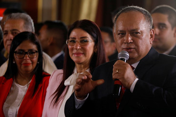 Diosdado Cabello, member of the National Constituent Assembly, gives his speach during the first session of the assembly at Palacio Federal Legislativo in Caracas