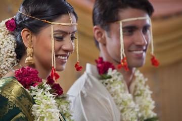 Maharashtrian bride and groom smiling together