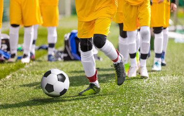 Youn Soccer Football Players Practicing Ball Control on Training Session