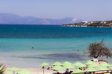 Panorama on a beach of Cesme (Izmir - Turkey)