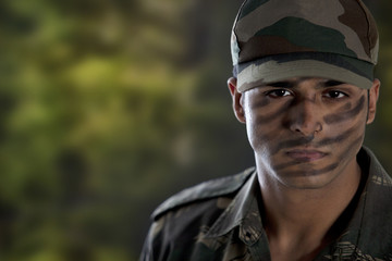 Portrait of a soldier in military uniform
