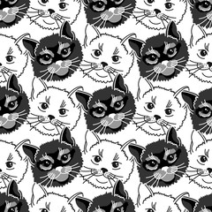 Seamless pattern with face cat. Black and white background with animal.