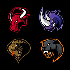Furious rhino, bull, cobra and panther sport vector logo concept set isolated on black background. 
