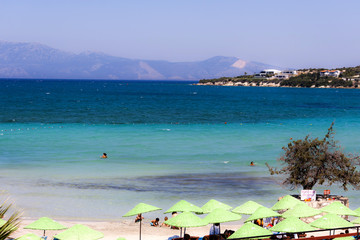 Panorama on a beach of Cesme (Izmir - Turkey)