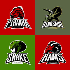Furious piranha, ram, snake and dinosaur head sport vector logo concept set isolated on color background. 