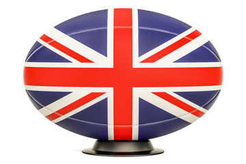 Rugby Ball with flag of UK, 3D rendering