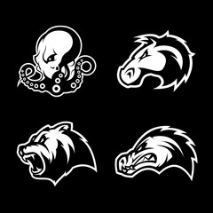 Furious octopus, bear, alligator and horse head sport vector logo concept set isolated on black background.  Modern team badge design. Premium quality wild animal t-shirt tee print illustration.
