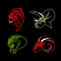 Furious piranha, ram, snake and dinosaur head sport vector logo concept set isolated on black background. 