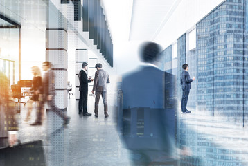 Modern city office lobby, people