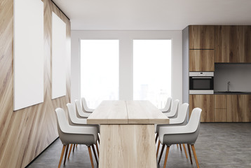 Wooden wall dining room, table