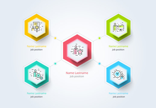 Colorful Company Hierarchy Organogram Infographic Layout 2