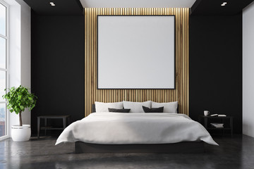 Black and wooden bedroom interior, poster
