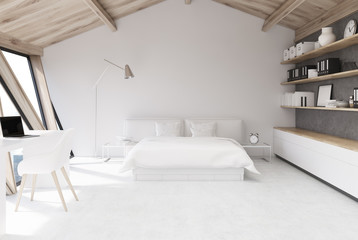 White bedroom in an attic
