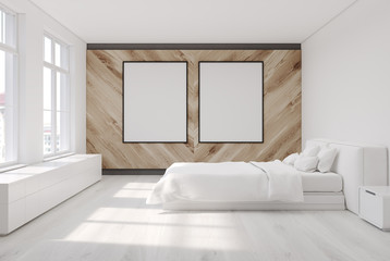Wooden bedroom, two posters