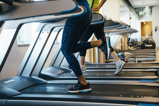 Group of women running on treadmills at a gym