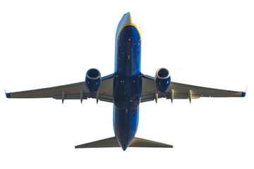 blue passenger commercial jet isolated isolated on white background. taking off front view.