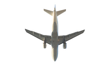 passenger commercial aircraft isolated on white background. below bottom view.