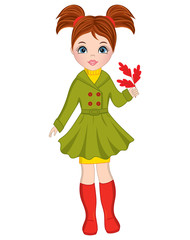 Vector Beautiful Autumn Girl with Oak Leaves