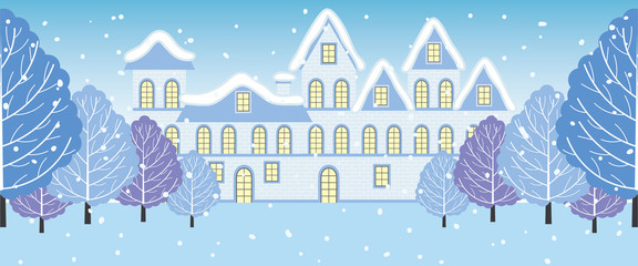 Vector Winter Landscape with Trees and House