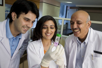 Doctors looking at a sample