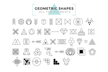Vector Geometric Shapes, Trendy Retro Shapes and Logotypes, Polygonal Line Art