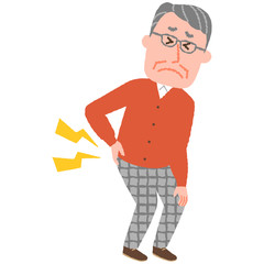vector illustration of an elderly man with low back pain