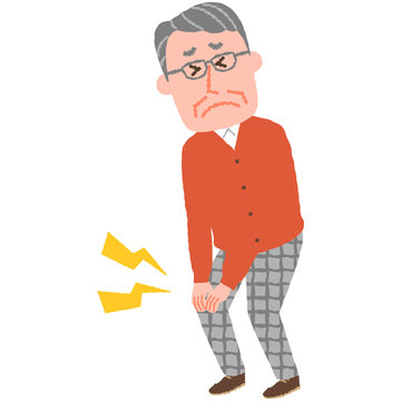 vector illustration of an elderly man with a knee sore