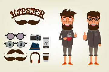 Happy Hipster style Character with bearded man and accessories for hipster. set collection vector illustration.
