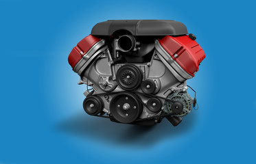 V8 Engine with gear bok isolated