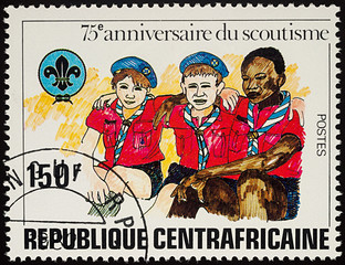 Boy Scouts on postage stamp