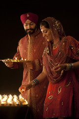 Couple with diyas
