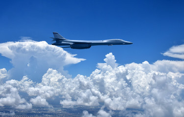 Nuclear bomber in flight