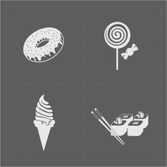 White Fast Food Icon Set on Grery Background