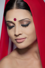 Portrait of a beautiful woman with a bindi