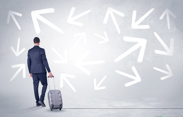 Businessman leaving with pell-mell arrows around