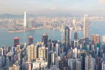 Hong Kong city central business downtown aerial view, cityscape background