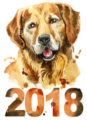 Watercolor portrait of golden retriever with year 2018