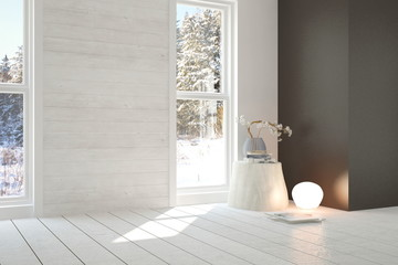 Idea of white empty room with winter landscape in window. Scandinavian interior design. 3D illustration