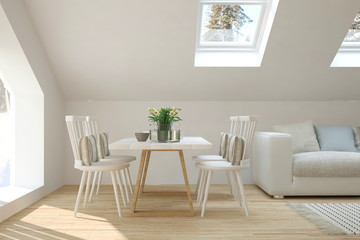 Inspiration of white minimalist dinner room. Scandinavian interior design. 3D illustration