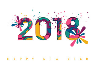 Happy New Year 2018, Carte de voeux - New year greeting card, New year background.