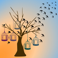 tree silhouette with birds flying and colorful bird cage isolated on sunset background.vector illustrator.