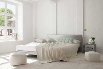White minimalist bedroom with green landscape in window. Scandinavian interior design. 3D illustration