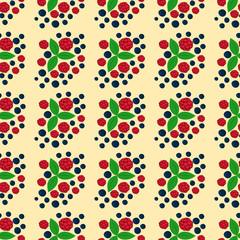 Raspberry seamless pattern fresh berry red ripe background vegetarian ingredient summer dessert vector illustration