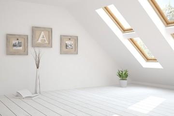 Idea of white empty room. Scandinavian interior design. 3D illustration