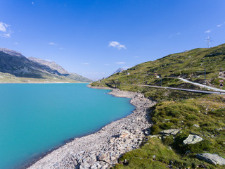 Panoramic view, Lake Bianco on Bernina Pass in Summer