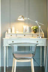 Modern classic style working table with gray wall background