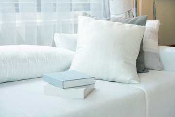 White pillows and books setting on white sofa in modern living room